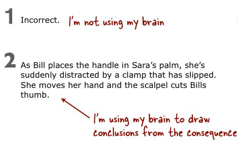 Example of contextual feedback