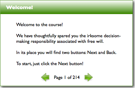 Course using only Next and Back buttons