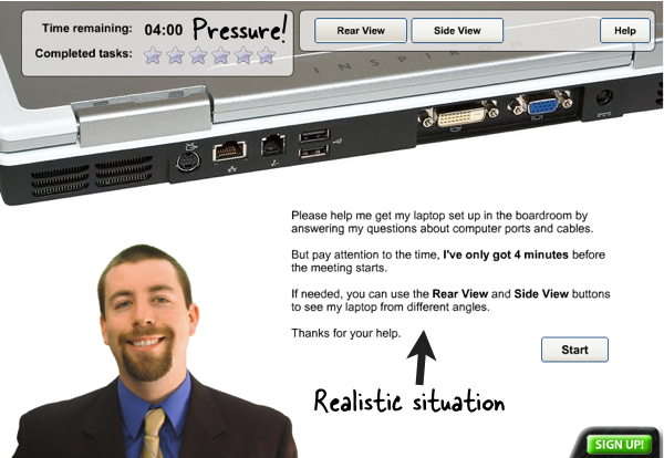 A person asks us to help him set up his laptop quickly for an important presentation