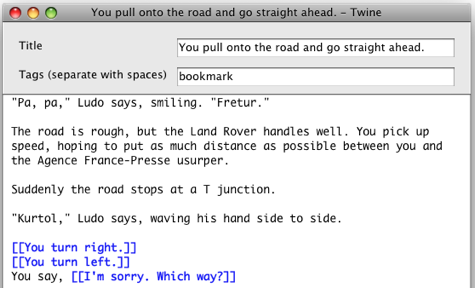 Screen shot of a scene editing window in Twine