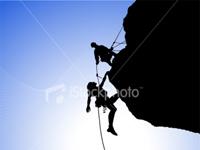 Climbers using rope