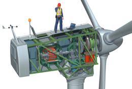 Wind turbine breakaway view